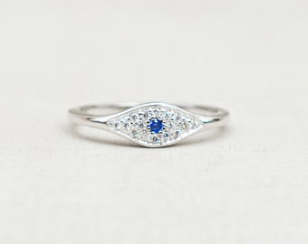 Evil Eye Stacking Ring - SILVER - Micro pave with Colored Stone - Sapphire/blue colored eye
