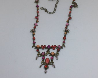 Belle Lia Antique Brass Crystal Necklace
