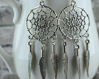Dream catcher earrings, Native American jewelry, Silver earrings, Bohemian earrings, Boho jewellery, Long earrings, Gift for her