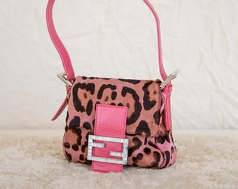 Fendi Pink Leopard Print Fur and Leather Mini Purse with Diamonte Detailing  • S