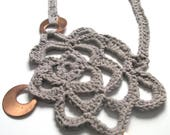 RESERVED for Maria H. Crochet necklace, christmas necklace, bronze jewelry, free form crochet, statement necklace