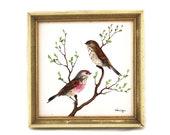 Petit cadre oiseaux vintage années 60 - Peinture sur carreau de faïence rétro