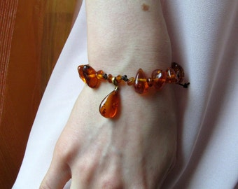 Nice Baltic Amber Bracelet 7,0 gram Translucent Cognac Natural Amber beads, Bracelet Amber Jewelry