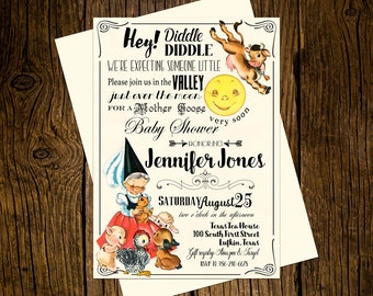Mother Goose Baby Shower Invitations Personalized Custom Printed Set of 12 Party Invites Vintage Ecru Nursery Rhyme Hey Diddle Diddle