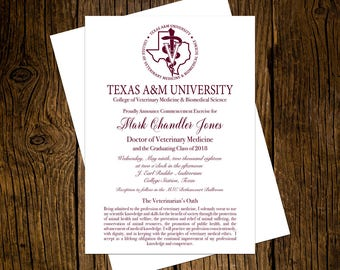 Texas A&M University DVM Graduation Announcements Set of 12 Personalized Custom Printed Aggie Maroon Class of 2018