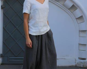 Natural loose linen pants / Linen pants / Washed linen pants / Harem pants with elastic waist and pockets / Linen trousers
