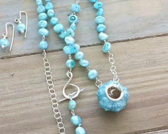 N39 - Aqua sea urchin necklace