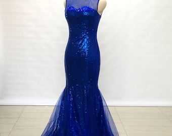 Illusion Sweetheart Royal Blue Sequin Tulle Long Prom Dress 2018 Mermaid