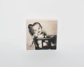 4 x 4 Wood Photo Block, Wood Photo Transfer, Custom Wood Photo, Photo on Wood, Picture on Wood, Old Fashioned Photo, Personal Wood Photo