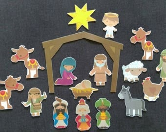 Nativity - Advent Felt Manger // A Child Is Born-Bible Story Felt Board Set// Flannel Board Story Set // Preschool  // Bible Story //
