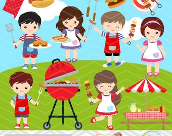 Digital BBQ Clipart, Boys Barbecue Clip Art, Girls BBQ Clipart, Instant Download Summer Barbecue Kid Clipart, Digital Picnic Clip Art 0248