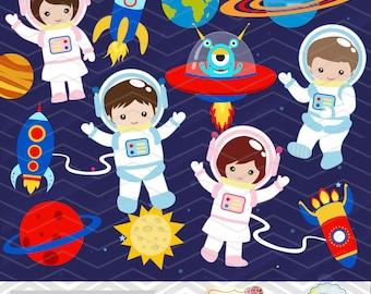 Digital Astronaut Clipart, Boy Astronaut Clip Art, Girl Astronaut Clipart, Space Clip Art, Space Astronaut ClipArt, Space Kid Clipart 0246
