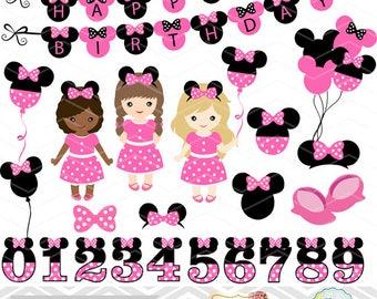 Digital Minnie Girl Clipart, Girl Minnie Clip Art, Pink Minnie Birthday Party Clip Art, Pink Minnie Numbers Clip Art 0175