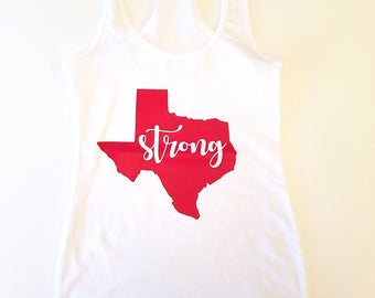 Texas Strong Racerback Tank Top, Hurricane Relief Tank Top, Soft Jersey Racerback Tank Top, Cute Workout Tank Top, Texas Strong Tee