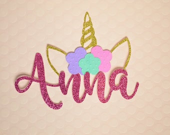 Beautiful Unicorn Cake Topper / Girl's Birthday / Unicorn / Pink Glitter Name