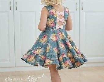 Aria's Bow Back Top and Dress.  PDF Downloadable sewing patterns for girls and toddlers 2T-12.
