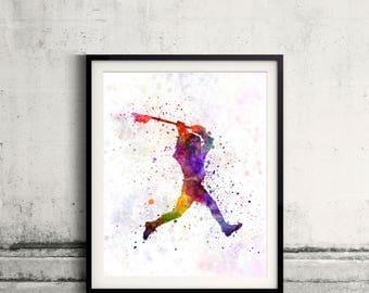 Lacrosse Man Player 01 - poster watercolor wall art splatter sport illustration print Glicée artistic - SKU 2624