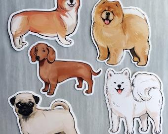 Cute Dog Stickers, Aesthetic, Samoyed, Corgi, Dachshund, Pug, Chow Chow, notebook laptop sticker