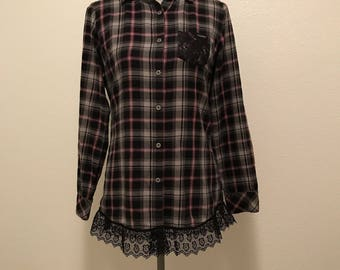 Upcycled flannel shirt with lacy trim