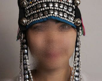 Thai Hill Tribe Traditional High Headset Hat Star Lady