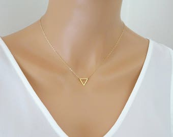 Triangle Necklace, Floating triangleNecklace, Gold or silver Delicate Necklace, Layering necklace, open triangle necklace