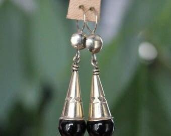 Toureg Earrings with Black Agate Stone