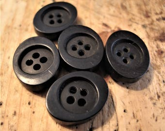 Vintage, Black Bakelite Buttons, Set of 5