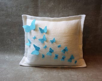decorative pillows, butterfly pillow, embroidered pillow, pillow covers, baby room decor, name pillow,  personalized pillows, baby gift, Art