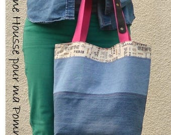 Handbag shoulder bag upcycled jeans La Parisienne and handles - patchwork, recycling