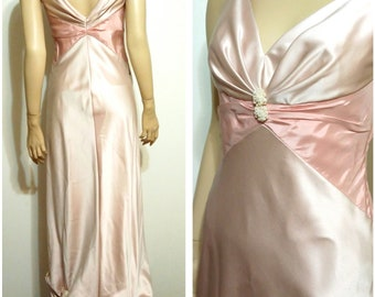 70's style gown, S, M, satin gown, pink gown, formal gown, satin dress, pink dress, vintage prom dress, bridesmaid dress