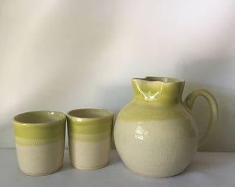 Handmade Ceramic Pitcher and Tumbler/Cup Set