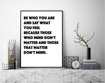 Be Who You Are Print, Wall Art, Modern Art Print, Typography Poster, Scandinavian Art, Minimalist Print, Literary Poster, Literary Quote