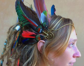 SALE Feather crown *HeadWing* with brass tiara wire and all-natural peacock,macaw, pheasant and mallard feathers in blue, green, red, brown