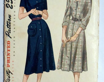 Simplicity 1940s Button Front Dress Pattern 2263 Size 12 Bust 30
