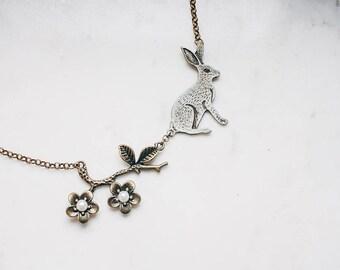 Flower rabbit necklace