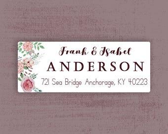 Vintage Watercolor Floral Address Labels, Return Address Labels, Maroon, Blush, Pink