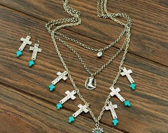 Southwestern Style Chunky Turquoise Multi Layer Cross Necklace Set  Cowgirl/Western/Boho