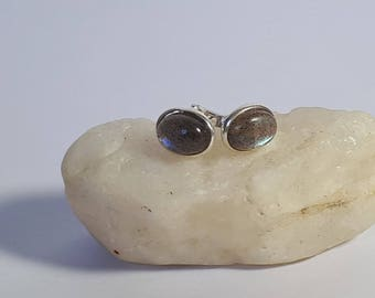 Labradorite stud earrings; 92.5 sterling silver, free shipping