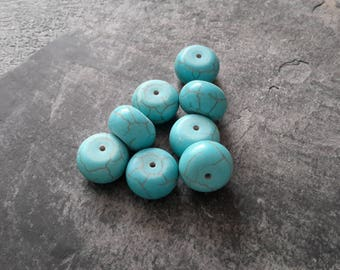Large stone beads washers turquoise howlite ethnic pendant, 14 x 10 mm, 2 pcs