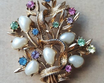 Vintage Brooch 1950s 'Jewelcraft' Gold Tone Multicoloured Diamante Paste