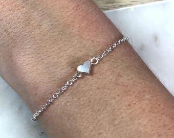 Silver Heart Bracelet, Tiny Heart Bracelet, Friends Bracelet, Dainty Bracelet, Simple Bracelet, Minimalist Bracelet, Minimal Bracelet