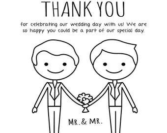 Gay Wedding Card - Gay Wedding Stationery - Instant Download Thanks - Wedding Thank You Postcards - Printable Thankyou - Wedding Thank You