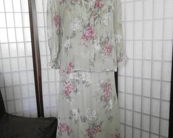 Women's long Floral Dress with Sheer Jacket