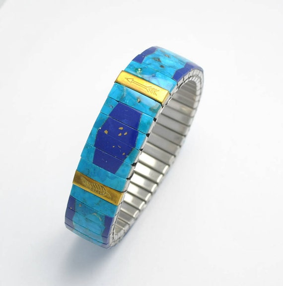 Natural turquoise and lapis lazuli extensible bracelet