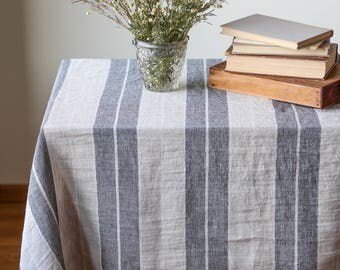 Natural linen table cloth, Farmhouse tablecloth, Black stripe tablecloth, Rectangle custom table cloth, Stone washed large table linen