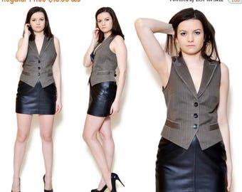 25%OFF 90s brown waistcoat sleeveless blazer v neck vest high collar coat fitted marc cain striped pin stripes pattern boho elegant office f