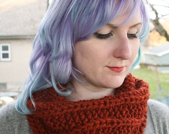 Pumpkin Spice Knit Cowl - Knitted Infinity Scarf Burnt Orange