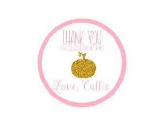 Personalized Pumpkin Thank You Sticker - Our Little Pumpkin Turns 1 Sticker - Treat Bag Sticker - Pink And Gold Pumpkin Sticker