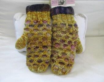 purple gold wool mitten 100% Superwash Merino,