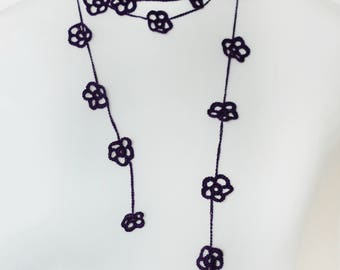 Long Boho Necklace / Purple Flower Oya Necklace / Floral crochet lariat necklace / Bridal Skinny Belt / Bohemian Hair Wrap / Romantic Gifts